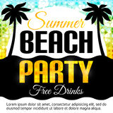 Summer Beach Party Flyer. Disco party background. Place for text. Vector lights backdrop. Beach Party poster. Dance party. Dance party eps. Vector illustration Royalty Free Stock Image