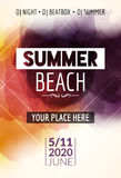 Summer beach party flyer template design. Summer party design layout event Stock Photos