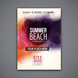 Summer beach party flyer template design. Summer party design layout event Stock Image