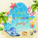 Summer beach party illustration. Stock Images