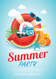 Summer beach party invitation poster background and  elements in Stock Photo