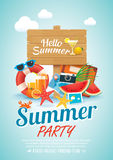 Summer beach party invitation poster background elements and woo Stock Photo