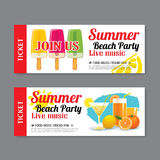 Summer beach party invitation ticket background Stock Image