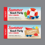 Summer beach party invitation ticket background Royalty Free Stock Image