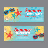 Summer beach party invitation ticket background Royalty Free Stock Photography