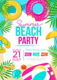 Summer beach party poster. Summer party colorful invitation. Vector summer background stock illustration