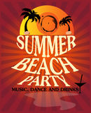 Summer beach party poster Stock Images
