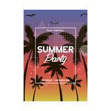 Summer and beach party poster design. Invitation flyer template with tropical palm tree. Modern banner. Vector Royalty Free Stock Photo