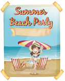 Summer beach party poster with girl in bikini Royalty Free Stock Photo