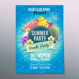 Summer beach party poster sea shell. Additional file in eps 10 Stock Images