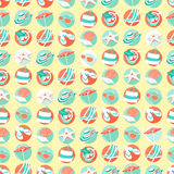 Summer beach party seamless pattern. Flat style. Stock Photography