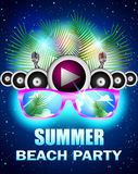 Summer beach party with speakers and sunglasses Royalty Free Stock Photo