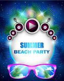 Summer beach party with speakers and sunglasses Stock Photo