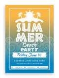 Summer Beach Party Template, Banner or Invitation. Royalty Free Stock Image