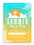 Summer Beach Party Template, Banner or Invitation. Stock Photo