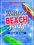 Summer Beach Party Template. Banner or Flyer design with illustration on glossy background stock illustration