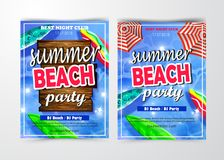 Summer Beach Party Template. Set, Banner or Flyer design with illustration on glossy background vector illustration