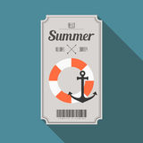 Summer beach party ticket with long shadow. Vector Stock Photo