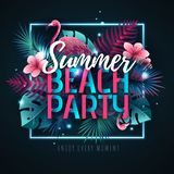 Summer beach party typography poster with flamingo and fluorescent tropic leaves. Nature concept stock illustration