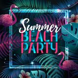 Summer beach party typography poster with flamingo and fluorescent tropic leaves. Nature concept vector illustration