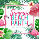 Summer beach party typography poster with flamingo and tropic leaves. Nature concept royalty free illustration