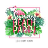 Summer beach party typography poster with flamingo and tropic leaves. Nature concept stock illustration