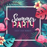 Summer beach party typography poster with flamingo and tropic leaves. Nature concept vector illustration