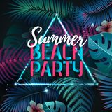Summer beach party typography poster with fluorescent tropic leaves. Nature concept royalty free illustration
