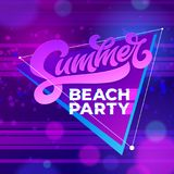 Summer beach party typography. Vector template for banners, cards, wallpapers, invitations, posters, flyers. Vector Royalty Free Stock Images