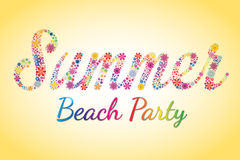 Summer Beach Party Vector Flower Typography. Summer Beach Party Colorful Flower Typography Royalty Free Stock Images