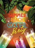 Summer beach party vector illustration with glasses of cocktail, leaves of orange tree and evening background Royalty Free Stock Photo