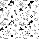 Summer beach pattern in old school tattoo style Stock Photography