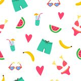 Summer beach pattern with swimsuits, watermelon pices, banana, coctail, hearts. Summer vibes texture. Modern bright. Template for print, banner cards. Vector vector illustration