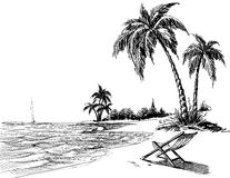 Summer beach pencil drawing vector illustration