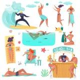 Summer beach people holidays royalty free illustration