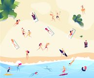 Summer beach people. Persons swim dive in sea relaxing sunbathing active family women men water games summer beach royalty free illustration