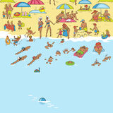 Summer beach. People relax, sunbathe, swim. Waves lapping on the Stock Photography