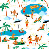Summer beach people seamless pattern. Tropical background with b Royalty Free Stock Image