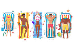 Summer beach people on sun lounger icons. On white background. Relaxation holiday, sunbathing and leisure, girl body. Vector illustration Royalty Free Stock Photos