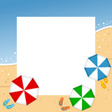 Summer Beach Photo Frame. Photo frame, post card or page for your scrapbook. Subject: a summer sand beach with colorful umbrellas or parasols. Eps file available stock illustration