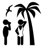 Summer Beach Photo Session Pictograms Flat People Icons  Stock Photography