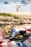 Summer beach picnic. A cheese plate picnic on the striped rug at the beach Stock Photo