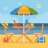 Summer Beach Picnic Table Stock Image