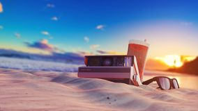 Summer beach picture. Summer beach wallpaper with sunlight, glasses, drinks Royalty Free Stock Photography