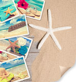 Summer Beach Postcards. On sand with starfish and page curl Stock Image