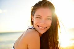 Summer beach pretty woman smiling happy portrait Stock Photo