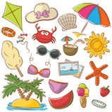 Summer Beach Rest Icons Set Stock Photos