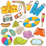 Summer Beach Rest Icons Set. Summer Beach Rest Doodle Icons Set Royalty Free Stock Images