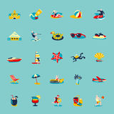 Summer Beach Retro Icons Background Set Stock Images