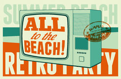 Summer beach retro party typographical poster. Vector illustration. Royalty Free Stock Photography